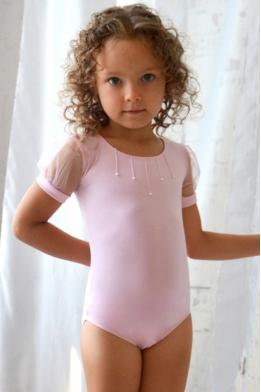 Купальник для танцев и гимнастики нежно-розовый