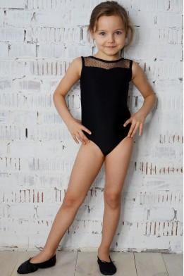 Купальник для танцев и гимнастики с сеткой в горошек