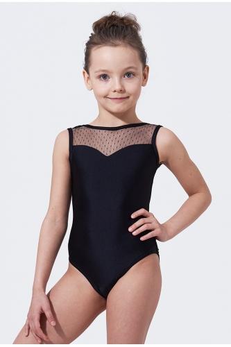 Купальник для танцев и гимнастики с сеткой в точечку черный