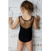 Leotard for dance and gymnastics with dotted net black