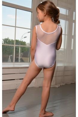 Купальник для танцев и гимнастики с сеткой в точечку белый