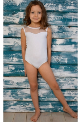 Leotard for dance and gymnastics with dotted net white