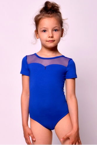 Leotard for dance and gymnastics with net blue