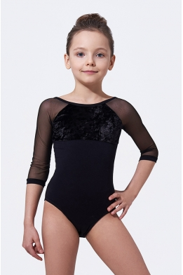 Leotard for dancing with velvet black