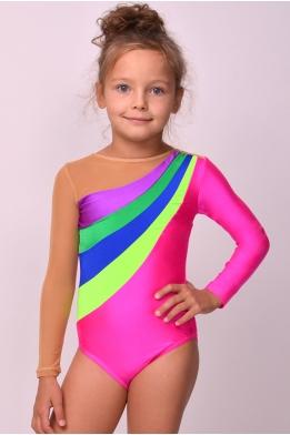 Купальник для гимнастики из бифлекса ярко-розовый