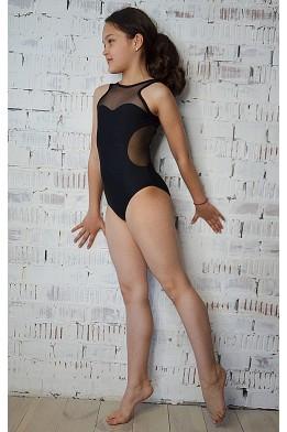 Купальник для танцев и гимнастики из бифлекса черный