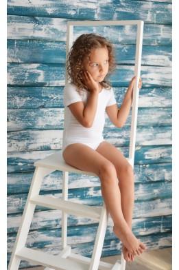 Купальник для танцев и гимнастики с переплетом на спине белый