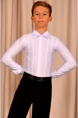 Shirt for dance white with zipper