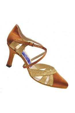 Женские танцевальные туфли для стандарта (бежевый сатин с золотом)