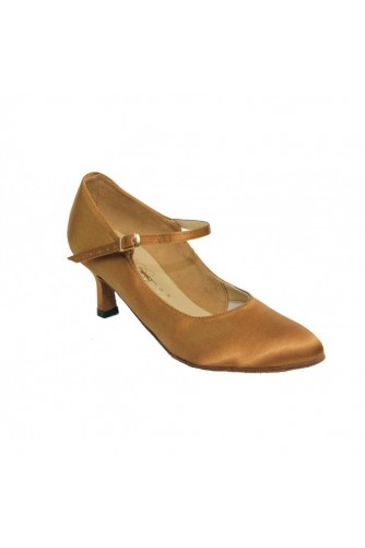 Женские танцевальные туфли для стандарта (бежевый атлас)