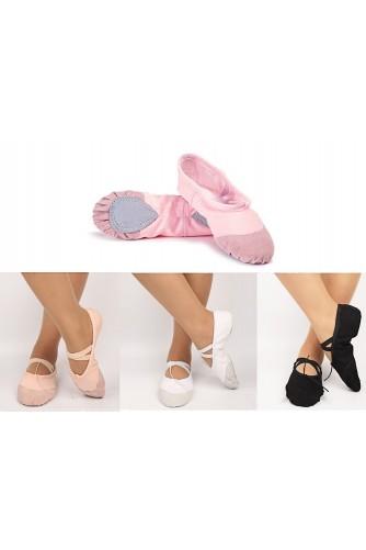 Балетки тканевые с кожаным носком