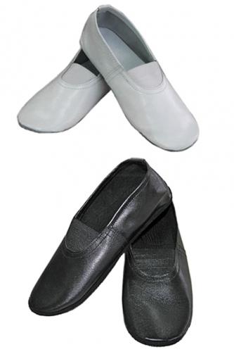 Чешки кожаные классические черные/белые