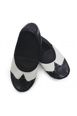 Чешки черно-белые кожаные