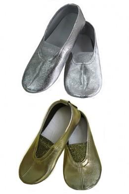 Чешки кожаные классические золото/серебро
