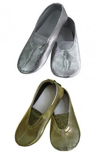 Ivari Sport leather full sole ballet shoes gold / silver