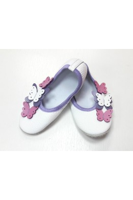Чешки кожаные белые с разноцветными бабочками