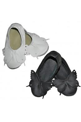 Чешки кожаные с бабочкой черные / белые