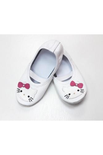 Чешки кожаные белые Hello Kitty