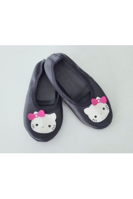 Чешки кожаные черные Hello Kitty