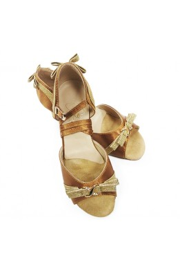 Dance shoes for girls (beige satin and gold)