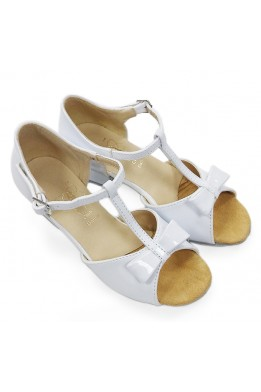 Dance shoes with bow for girls (white)