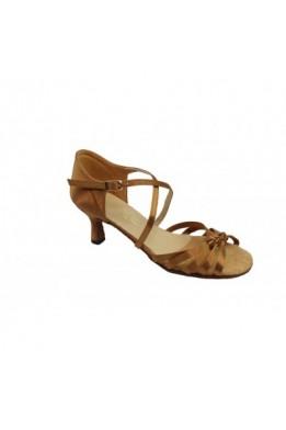 Женские танцевальные туфли Латина (бежевый сатин)
