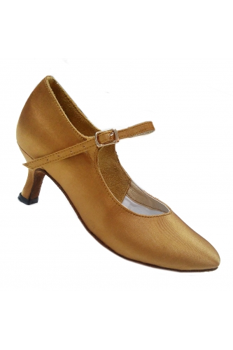 Dance ballroom women dance shoes (beige satin)