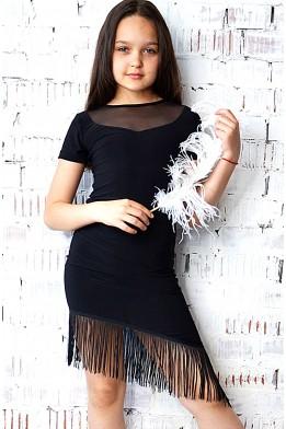 Dance skirt with fringe black