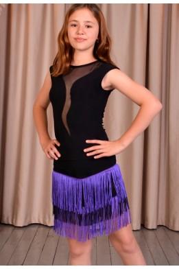 Dance skirt with fringe black/purple