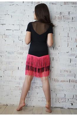 Танцевальная юбка с бахромой черно-розовая