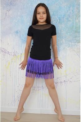 Танцевальная юбка с бахромой черно-фиолетовая