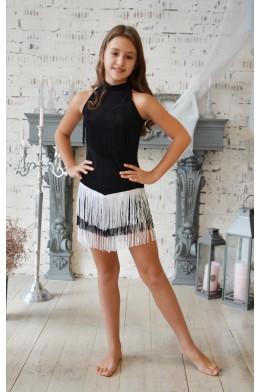 Танцевальная юбка с бахромой черно-белая