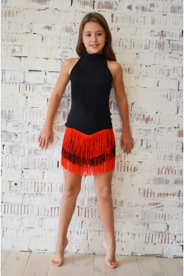 Танцевальная юбка с бахромой черно-красная