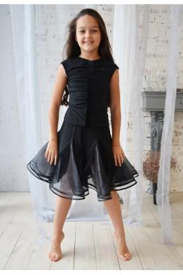 Танцевальная юбка с органзой и бахромой черная