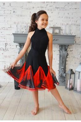 Танцевальная юбка с органзой и бахромой черно-красная