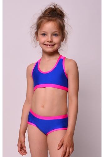 Set bra+shorts royal blue/pink