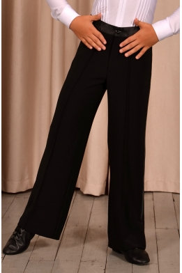 Pants for dancing with a satin belt and stripes