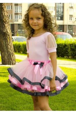 Юбка-пачка нежно-розовая с черной и розовой лентой
