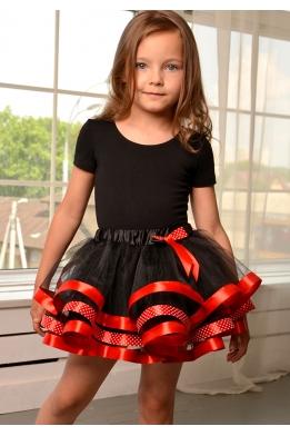 Юбка-пачка черная с красной лентой