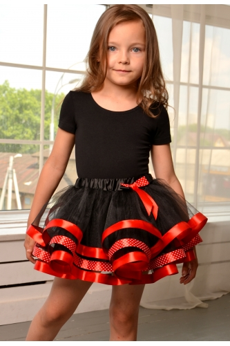 Tulle tutu skirt black with red ribbon