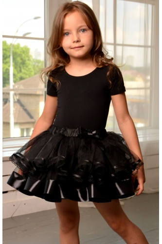 Tulle tutu skirt with lace black