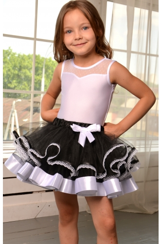 Tulle tutu skirt with lace black/white