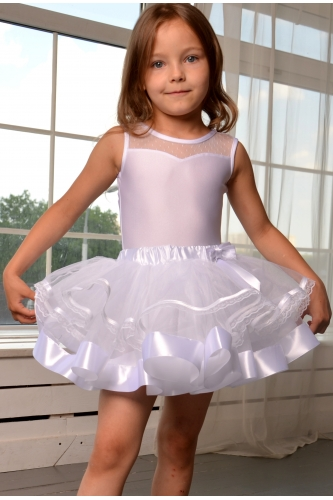 Tulle tutu skirt with lace white