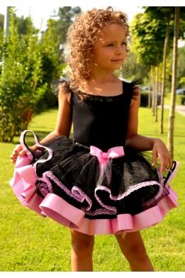 Юбка-пачка черно-розовая с кружевом