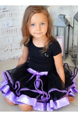Юбка-пачка черно-фиолетовая с кружевом