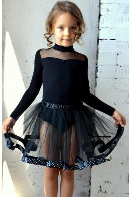 Tulle tutu skirt black  with dotted black ribbon