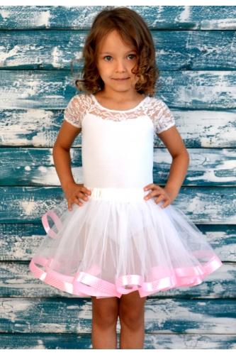 Юбка-пачка белая с розовой лентой в горошек