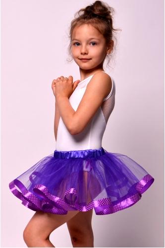 Юбка-пачка фиолетовая с лентой в горошек