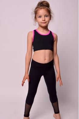 Лосины с сеткой для танцев и гимнастики черные