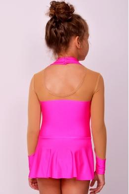 Купальник для гимнастики из бифлекса, ярко-розовый